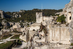 Ruins of the castle standing atop of picturesque village. Les Baux-de-Provence, France stock photography