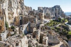 Ruins of the castle standing atop of picturesque village. Les Baux-de-Provence, France stock photo