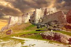 Ruins castle sunset Royalty Free Stock Images