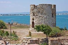 Ruins of the castle tower in Nesebar Stock Image