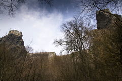 Ruins of castle Trosky in Czech Republic on winter day. Bosky ruins of castle Trosky in Czech Republic on winter day Stock Photos