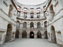 Ruins of a castle. Well preserved wall of old castle royalty free stock photos