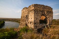 The ruins of Castle in Zhvanec, Khmelnytskyi Oblast, Ukraine. The ruins of Castle in Zhvanec, Khmelnytskyi Oblast, Western Ukraine Royalty Free Stock Images