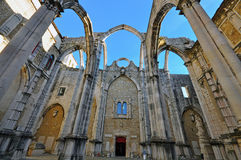 Ruins of cathedral in Lisbon. Ruins of Igreja do Carmo, Lisbon Royalty Free Stock Image