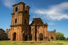 Ruins of Cathedral of Sao Miguel das Missoes. Rio Grande do Sul - Brazil Royalty Free Stock Photo