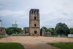 Ruins of Cathedral Tower at Panama Viejo Ruins - Panama City, Panama stock images