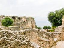 Ruins of Catullus Caves, roman villa in Sirmione, Garda Lake Stock Photo