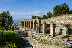 Ruins of Catullus Caves, roman villa in Sirmione, Italy Stock Image
