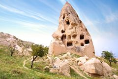 Ruins of the cave temple in Uchisar, Turkey Stock Image