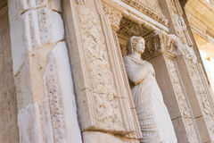 The ruins of Celsus Library in Ephesus. Marble statue in the facade of the library,Turkey Royalty Free Stock Image