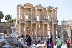 The ruins of Celsus Library in Ephesus Royalty Free Stock Photography