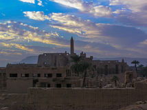 The ruins of the central temple of Amun-Ra. In Luxor Egypt Stock Photo