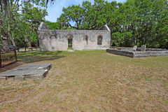 Ruins of the Chapel of Ease and graveyard near Beaufort, South C. Tabby wall ruins and graveyard of the Chapel of Ease from Saint Helenas Episcopal Church on stock photo