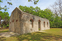 Ruins of the Chapel of Ease and graveyard near Beaufort, South C. Tabby wall ruins of the Chapel of Ease from Saint Helenas Episcopal Church on Saint Helena royalty free stock photo