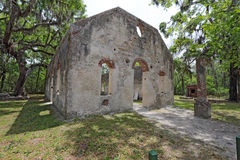 Ruins of the Chapel of Ease near Beaufort, South Carolina. Tabby wall ruins of the Chapel of Ease from Saint Helenas Episcopal Church on Saint Helena Island in stock images