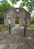 Ruins of the Chapel of Ease near Beaufort, South Carolina vertical. Tabby wall ruins of the Chapel of Ease from Saint Helenas Episcopal Church on Saint Helena stock images
