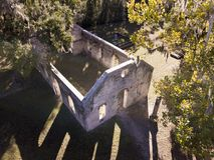 Ruins of 18th century church ruin. Stock Photo