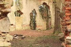 The ruins of the chapel of St. Mary Magdalene. In forest on hill Small Blanik in Czech Republic, Europe royalty free stock photography