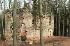 The ruins of the chapel of St. Mary Magdalene. In forest on hill Small Blanik in Czech Republic, Europe royalty free stock image