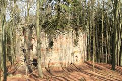 The ruins of the chapel of St. Mary Magdalene. In forest on hill Small Blanik in Czech Republic, Europe stock photo