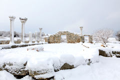 Ruins of Chersonesus in the snow Stock Images
