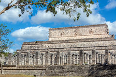 Ruins of Chichen Itza. Plaza of the Thousand Columns with a nice looking sky in the ruins of Chichen Itza, Mexico Royalty Free Stock Photo