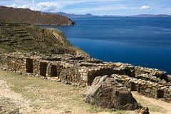 Ruins of Chinkana on Isla del Sol in Lake Titicaca, Bolivia stock images