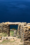 Ruins of Chinkana on Isla del Sol on Lake Titicaca, Bolivia Stock Image