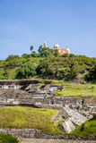 Ruins of Cholula pyramid with Church of Our Lady of Remedies at the top of it - Cholula, Puebla, Mexico Stock Photography