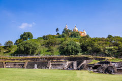 Ruins of Cholula pyramid with Church of Our Lady of Remedies at the top of it - Cholula, Puebla, Mexico Royalty Free Stock Image