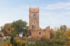 The ruins of the church of Castle Gerdauen in the village Zhelez Royalty Free Stock Photography