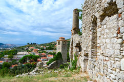Ruins of church of St. Catherine and clock tower, Bar, Montenegr Stock Photos