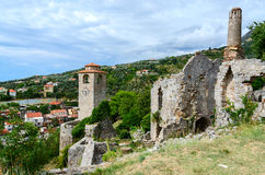 Ruins of church of St. Catherine and clock tower, Old Bar, Monte Stock Photography