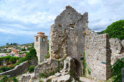 Ruins of church of St. Catherine and clock tower Stock Images