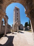 Ruins of the Church of St. John the Evangelist. In Rab Croatia - a popular tourist attraction Stock Images