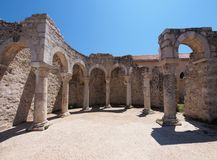 Ruins of the Church of St. John the Evangelist. In Rab Croatia - a popular tourist attraction Royalty Free Stock Image