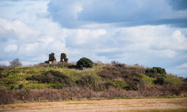 Ruins of a church at the top of a little hill Royalty Free Stock Image
