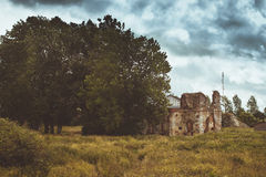 The ruins of the Church of the Transfiguration. KOPORYE, RUSSIA - AUGUST 19, 2014: The ruins of the Church of the Transfiguration on the territory of the Royalty Free Stock Photos