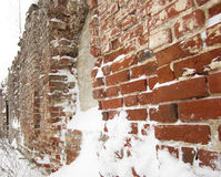 The ruins of the church wall in ancient russian Royalty Free Stock Images