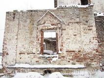 The ruins of the church wall in ancient russian monastery.  Altar. Stock Photo