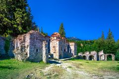 Ruins and churches of the medieval Byzantine ghost town-castle of Mystras, Peloponnese. Ruins and churches of the medieval Byzantine ghost town-castle of stock photos