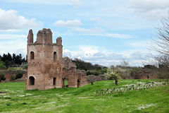 Ruins from Circo di Massenzio in Via Apia Antica at Roma Stock Photo