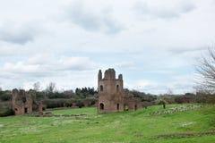 Ruins from Circo di Massenzio in Via Apia Antica at Roma Stock Images