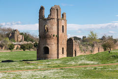 Ruins of the Circus of Maxentius in Rome Stock Images