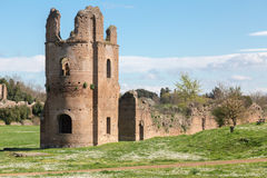 Ruins of the Circus of Maxentius in Rome Royalty Free Stock Image