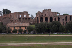 Ruins in circus maximus, rome. Ruins view from circus maximus, rome Royalty Free Stock Photo
