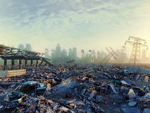 Ruins of a city. Apocalyptic landscape.3d illustration concept Stock Photography