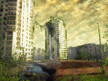 Ruins of a city. Apocalyptic landscape Royalty Free Stock Image