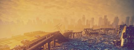 Ruins of the city. Apocalyptic landscape.3d illustration concept Royalty Free Stock Image