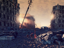 Ruins of a city. With a crack in the street. 3d illustration concept Stock Image